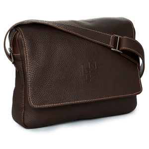 French Pebble Grain Leather Messenger Bag in Chocolate by L.E.N. Bespoke