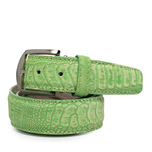 Stone Washed Ostrich Leg Belt in Lime by L.E.N. Bespoke