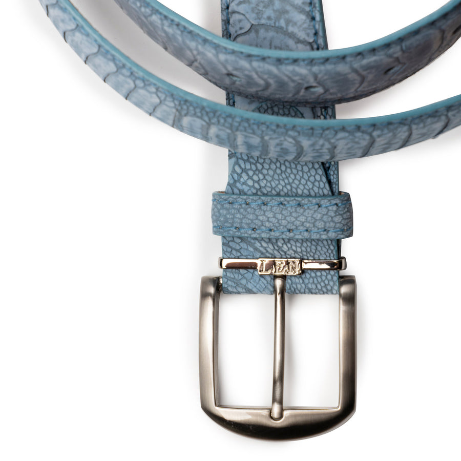 Stone Washed Ostrich Leg Belt in Sky Blue by L.E.N. Bespoke