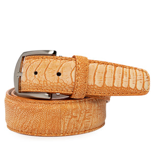 Stone Washed Ostrich Leg Belt in Tangerine by L.E.N. Bespoke
