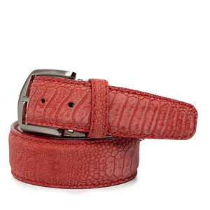 Stone Washed Ostrich Leg Belt in Red by L.E.N. Bespoke