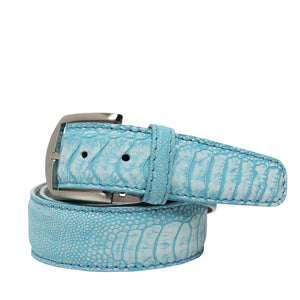 Stone Washed Ostrich Leg Belt in Aqua by L.E.N. Bespoke