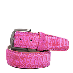 Stone Washed Ostrich Leg Belt in Pink by L.E.N. Bespoke