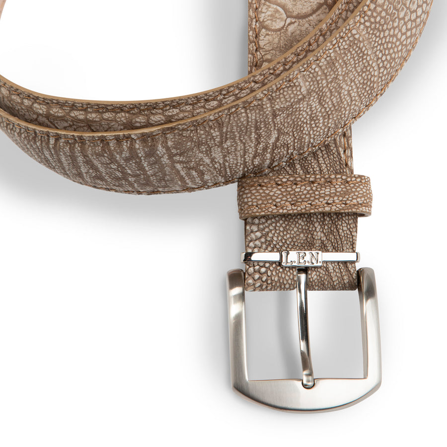 Stone Washed Ostrich Leg Belt in Sand by L.E.N. Bespoke