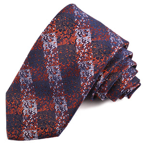 Rust, Navy, and Lilac Speckled Plaid Woven Silk Jacquard Tie by Dion Neckwear