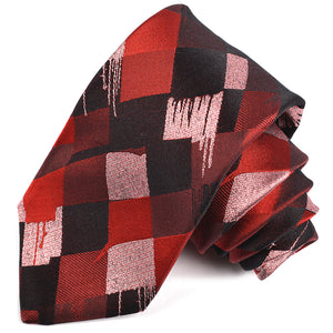 Black, Burgundy, and Blush Abstract Harlequin Woven Silk Jacquard Tie by Dion Neckwear