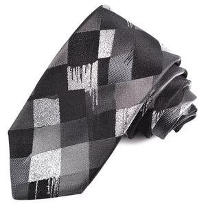 Black, Charcoal, and Silver Abstract Harlequin Woven Silk Jacquard Tie by Dion Neckwear