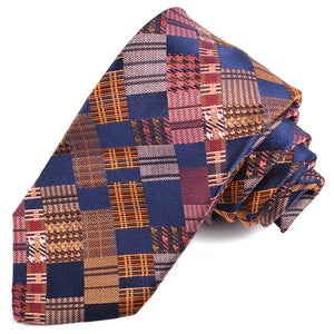 Navy, Melon, Salmon, and Brown Patchwork Block Woven Silk Jacquard Tie by Dion Neckwear