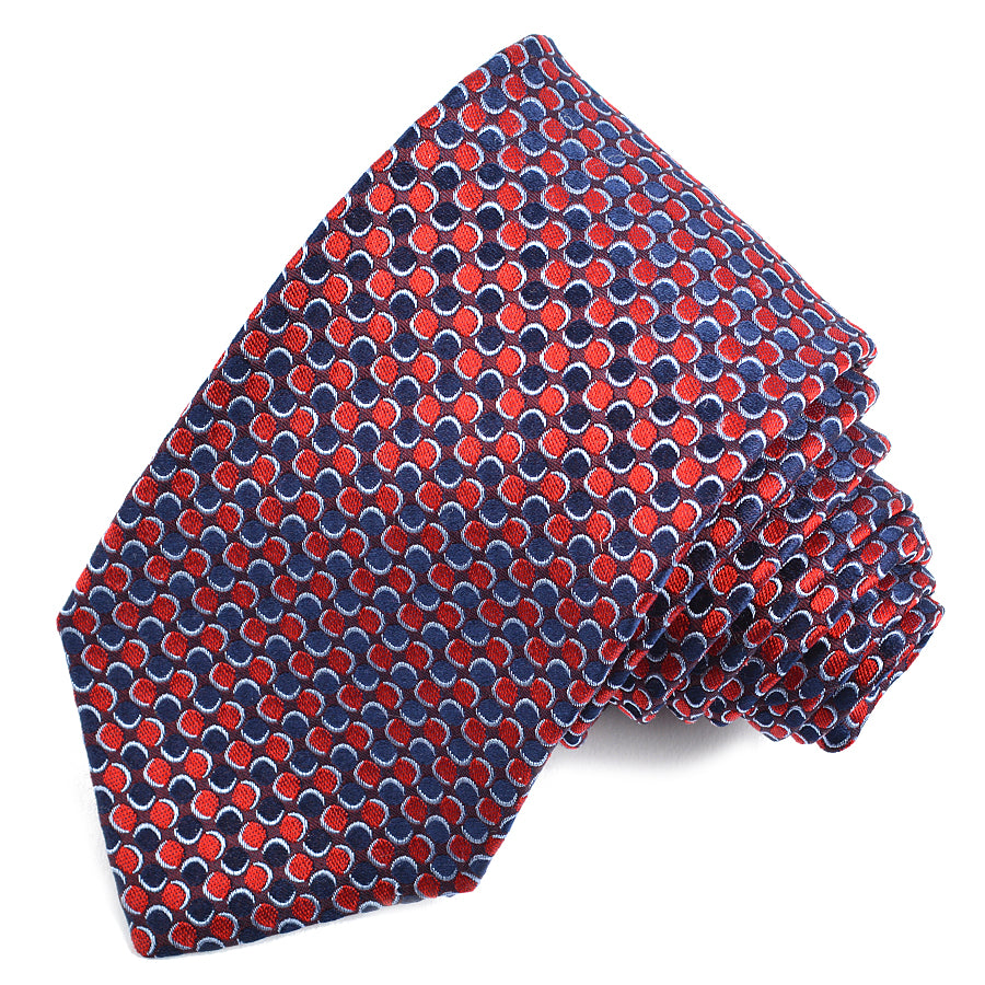 Navy, Burgundy, and Red Neat Dot Woven Silk Jacquard Tie by Dion Neckwear