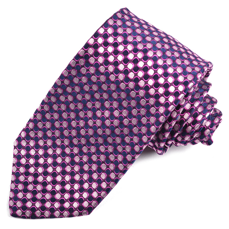 Navy, Eggplant, and Fuchsia Neat Dot Woven Silk Jacquard Tie by Dion Neckwear