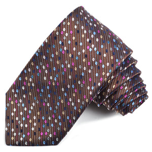 Brown, Teal, Berry, and Latte Dot Micro Stripe Neat Woven Silk Jacquard Tie by Dion Neckwear