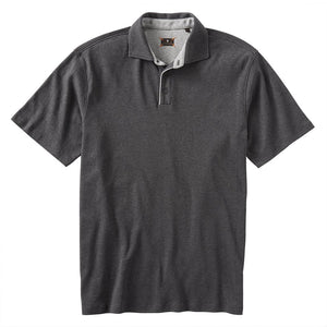 Interlock Piped Polo in Grey Mélange by Left Coast Tee