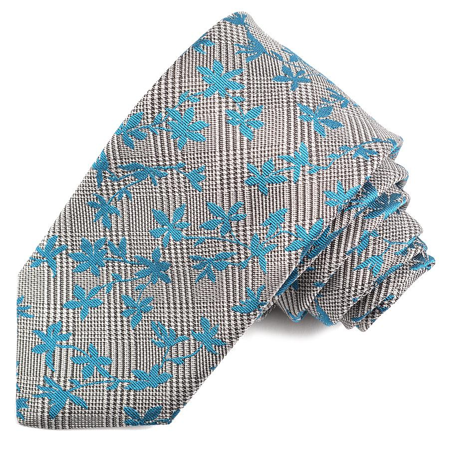 Black, Silver, and Teal Floral Houndstooth Plaid Woven Silk Jacquard Tie by Dion Neckwear