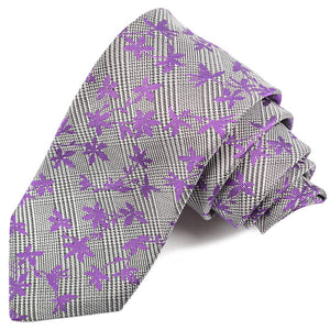Navy, Silver, and Purple Floral Houndstooth Plaid Woven Silk Jacquard Tie by Dion Neckwear