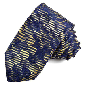 Navy and Yellow Honeycomb Dots Woven Jacquard Silk Tie by Dion Neckwear