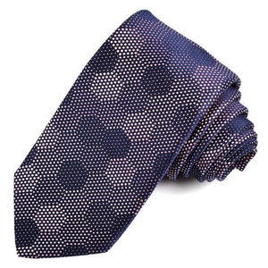 Navy and Pink Honeycomb Dots Woven Jacquard Silk Tie by Dion Neckwear