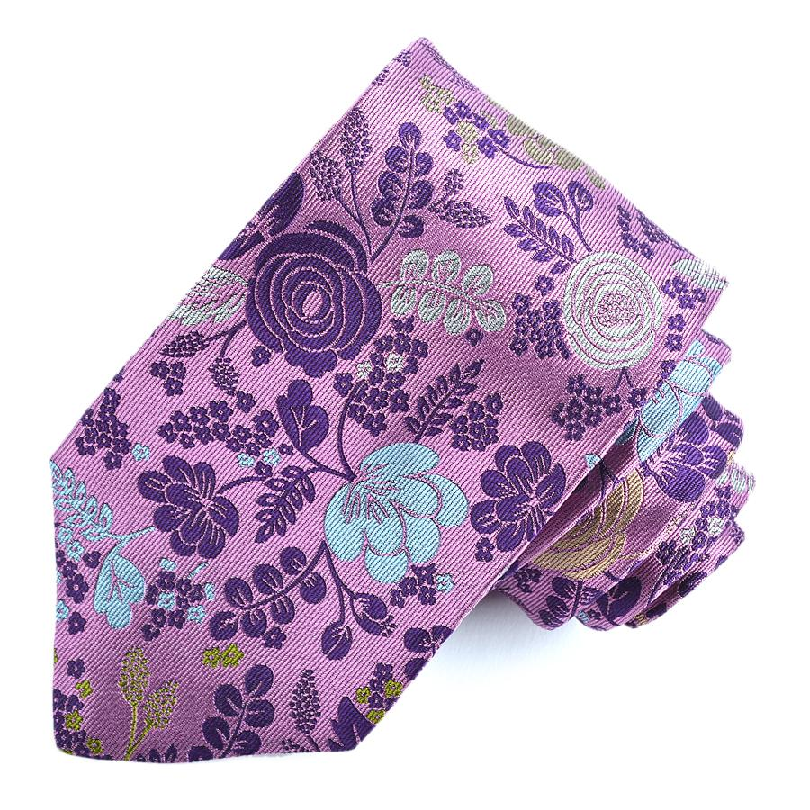 Purple, Pink, and Ice Floral Woven Silk Jacquard Tie by Dion Neckwear
