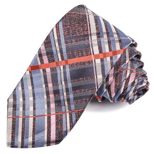 Red, Pink, and Silver Large Thick Plaid Silk Jacquard Tie by Dion Neckwear