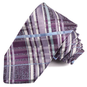 Purple, Lilac, and Sky Large Thick Plaid Silk Jacquard Tie by Dion Neckwear
