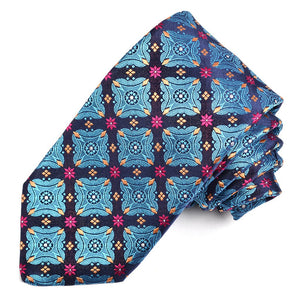 Teal, Navy, and Berry Floral Diamond Medallion Silk Woven Jacquard Tie by Dion Neckwear