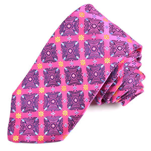 Fuchsia, Navy, and Gold Floral Diamond Medallion Silk Woven Jacquard Tie by Dion Neckwear