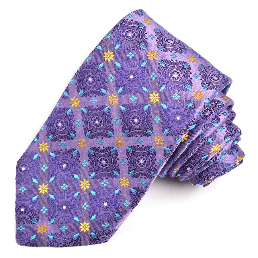 Lilac, Teal, and Gold Floral Diamond Medallion Silk Woven Jacquard Tie by Dion Neckwear