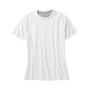 'Shaped Fit' Crew Neck Peruvian Cotton Tee Shirt in White by Left Coast Tee