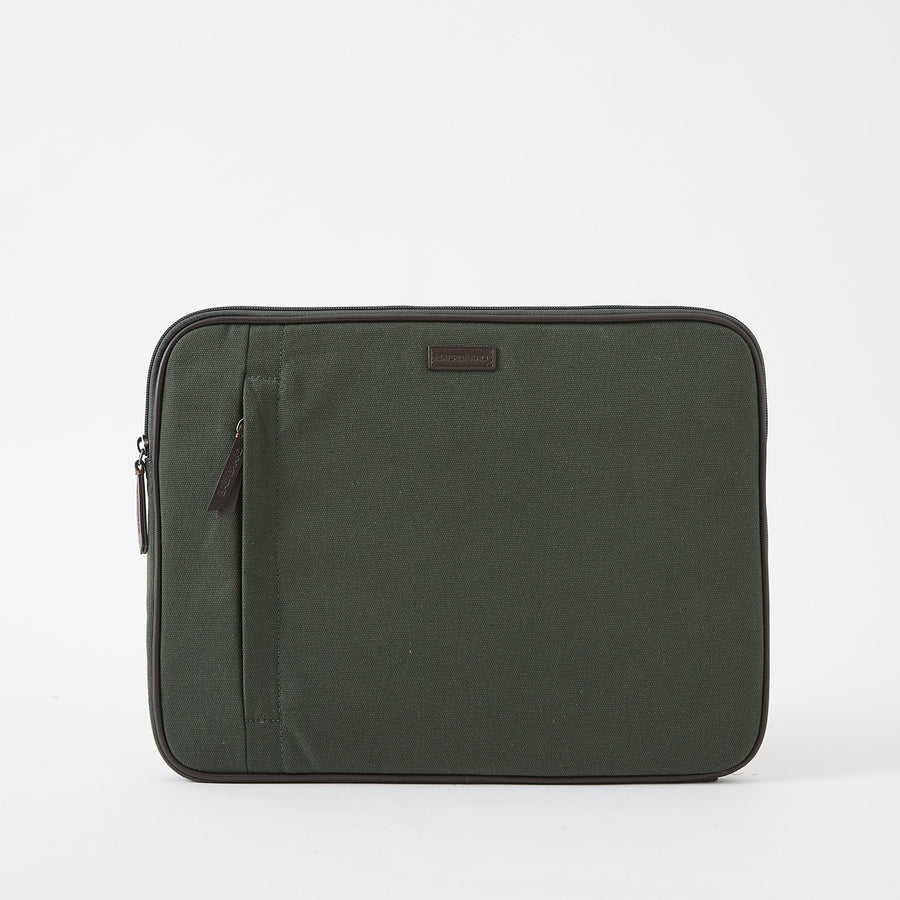Laptop Case in Green Canvas by Baekgaard