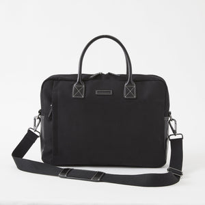 Sloan Brushed Microfiber Attaché in Charcoal Black by Baekgaard