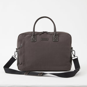 Sloan Brushed Microfiber Attaché in Tobacco Brown by Baekgaard