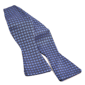 Dot Medallion Silk Jacquard Bow Tie in Navy, Silver, and White by Dion Neckwear
