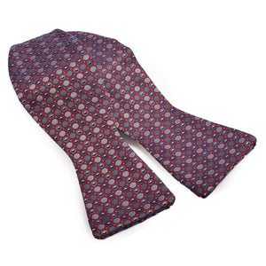 Micro Dot Silk Jacquard Bow Tie in Wine and Charcoal by Dion Neckwear