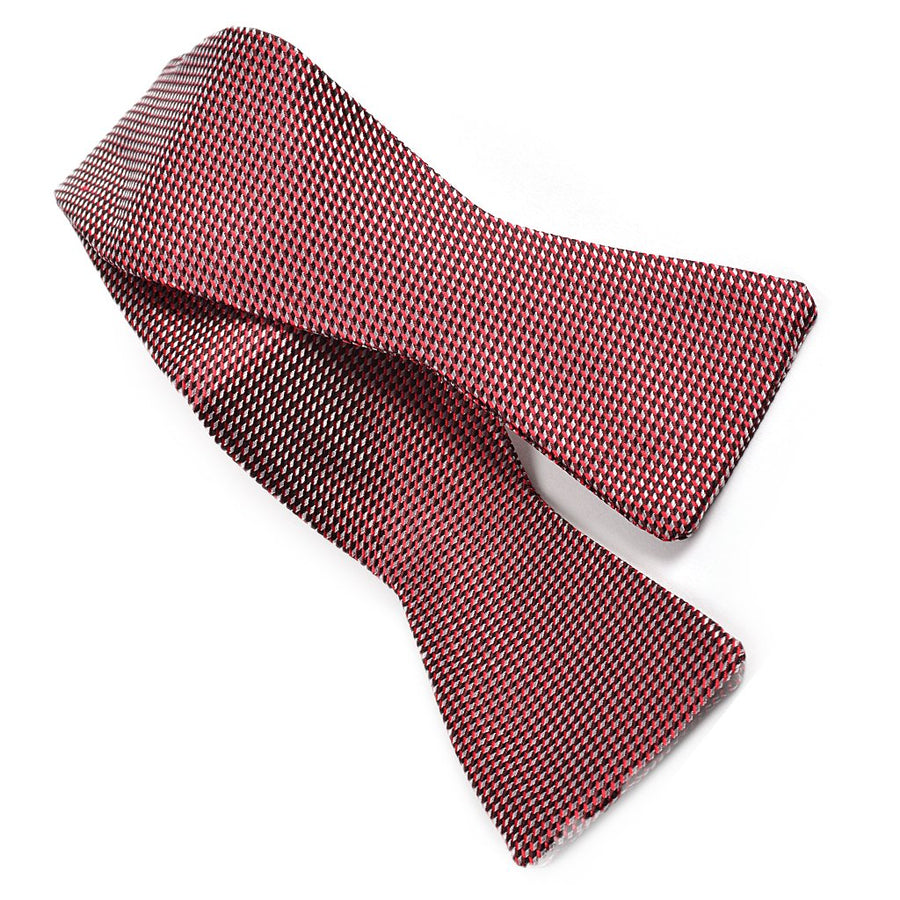 Micro Arrow Neat Silk Jacquard Bow Tie in Wine, Silver, and Navy by Dion Neckwear