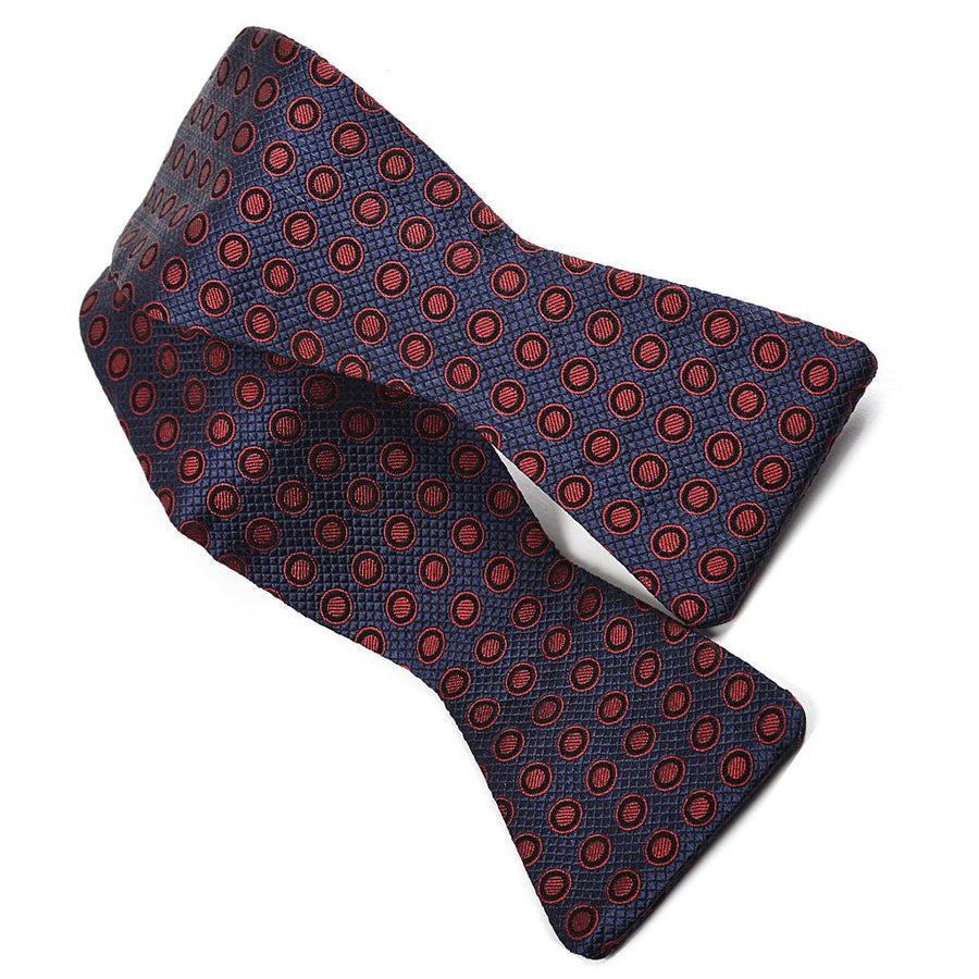 Polka Dot Grid Silk Jacquard Bow Tie in Indigo, Cherry Wine, and Navy by Dion Neckwear