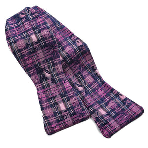 Tartan Floral Paisley Silk Jacquard Bow Tie in Navy, Berry, and Pink by Dion Neckwear