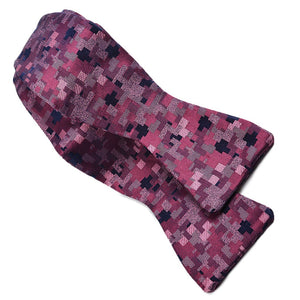 Abstract Geometric Silk Jacquard Bow Tie in Berry, Mauve, and Navy by Dion Neckwear