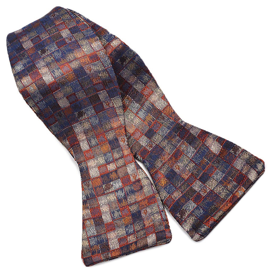 Mosaic Silk Woven Jacquard Bow Tie in Rust, Silver, and Navy by Dion Neckwear