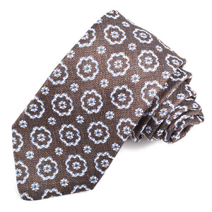 Mocha, Sky, and White Floral Medallion Woven Silk, Linen, and Cotton Jacquard Tie by Dion Neckwear