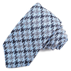 Navy, Sky, and Silver Houndstooth Plaid Silk, Linen, and Cotton Jacquard Tie by Dion Neckwear
