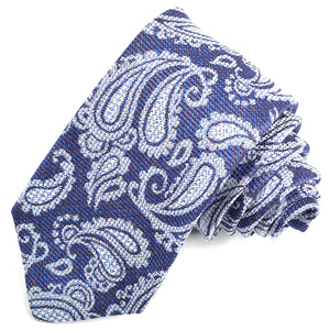 French Blue and Sky Paisley Silk, Linen, and Cotton Jacquard Tie by Dion Neckwear