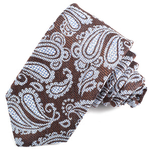 Mocha and Sky Paisley Silk, Linen, and Cotton Jacquard Tie by Dion Neckwear