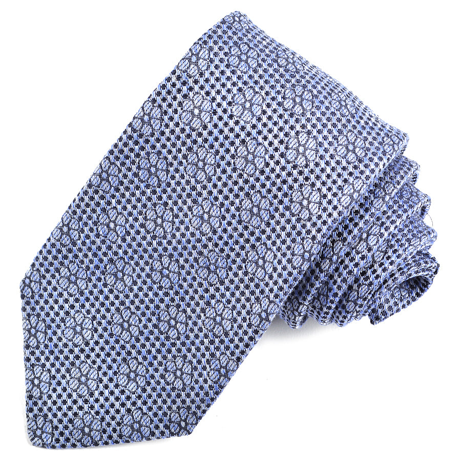 Sky and Navy Floral Neat Silk, Linen, and Cotton Jacquard Tie by Dion Neckwear