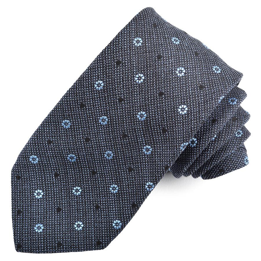 Navy and Sky Dot Cotton, Silk, and Wool Melange Tie by Dion Neckwear