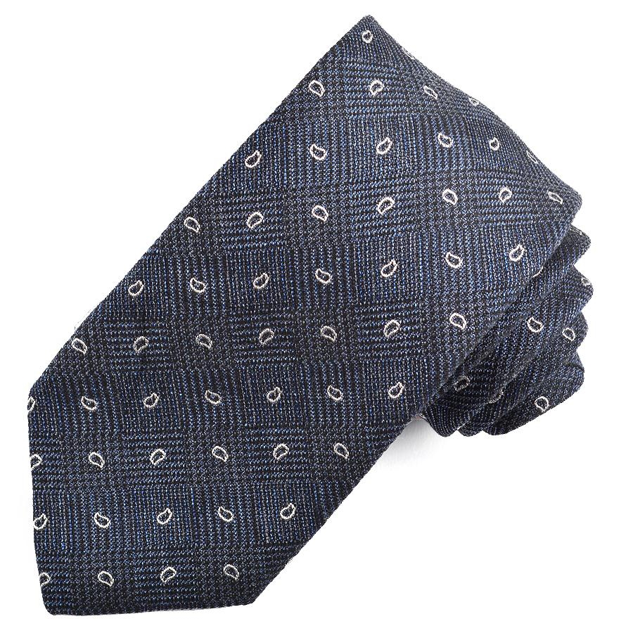 Navy and Silver Neat Paisley Houndstooth Check Cotton, Silk, and Wool Melange Tie by Dion Neckwear
