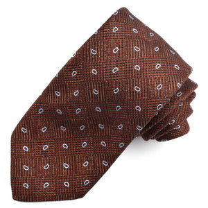 Rust, Navy, and Sky Neat Paisley Houndstooth Check Cotton, Silk, and Wool Melange Tie by Dion Neckwear