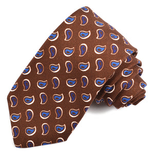 Brown, Navy, and Royal Tear Drop Paisley Printed Faille Silk and Cotton Tie by Dion Neckwear