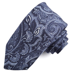 Navy and White Paisley Printed Mogador Silk and Cotton Tie by Dion Neckwear