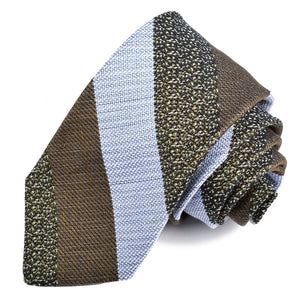 Green, Sky, and Navy Wide Textured Stripe Woven Linen, Cotton, and Silk Tie by Dion Neckwear