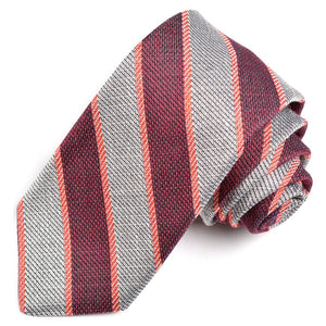 Wine, Silver, and Red Melange Bar Stripe Woven Cotton, Silk, and Linen Tie by Dion Neckwear