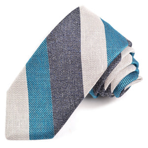 Navy and Aqua Textured Thick Bar Stripe Woven Cotton, Silk, and Linen Tie by Dion Neckwear